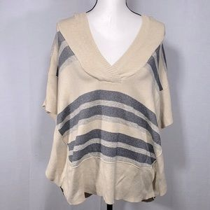 American Eagle Striped hooded side button sweater
